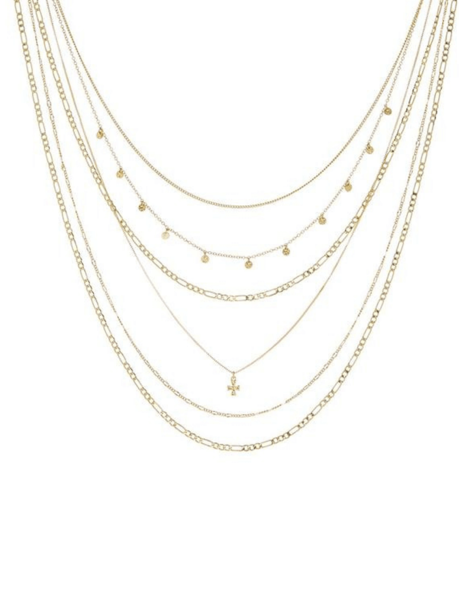 The Hammered Cross Multi Charm Necklace - Gold