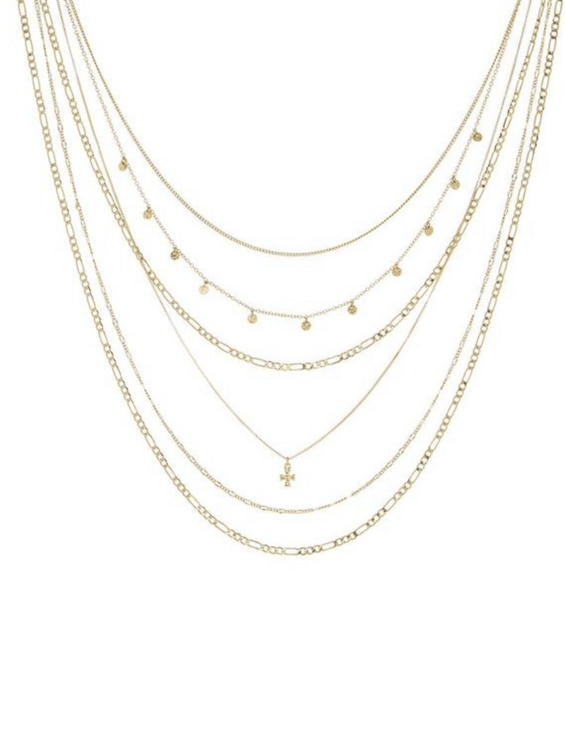 The Hammered Cross Multi Charm Necklace Gold | Luv AJ
