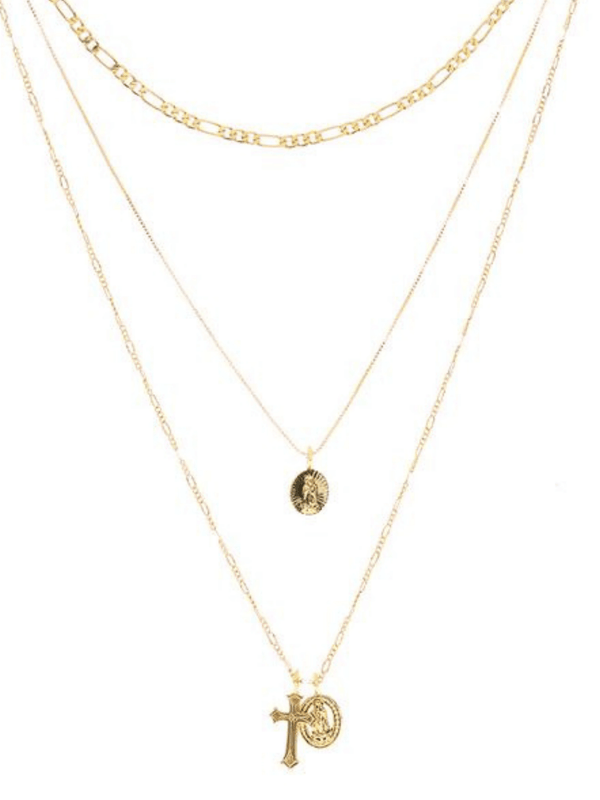 Isidore Cross Charm Necklace Luv AJ Gold