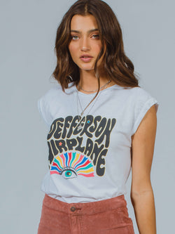 Jefferson Airplane Rainbow Drop Shoulder Tee Daydreamer LA