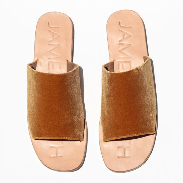 """Off Duty"" Marigold Velvet Slides"