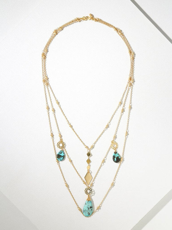 Annie Multi Chain & Turquoise Necklace