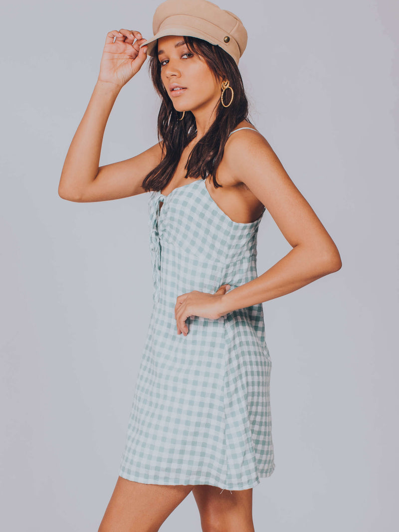 Sage Gingham Dress MINKPINK