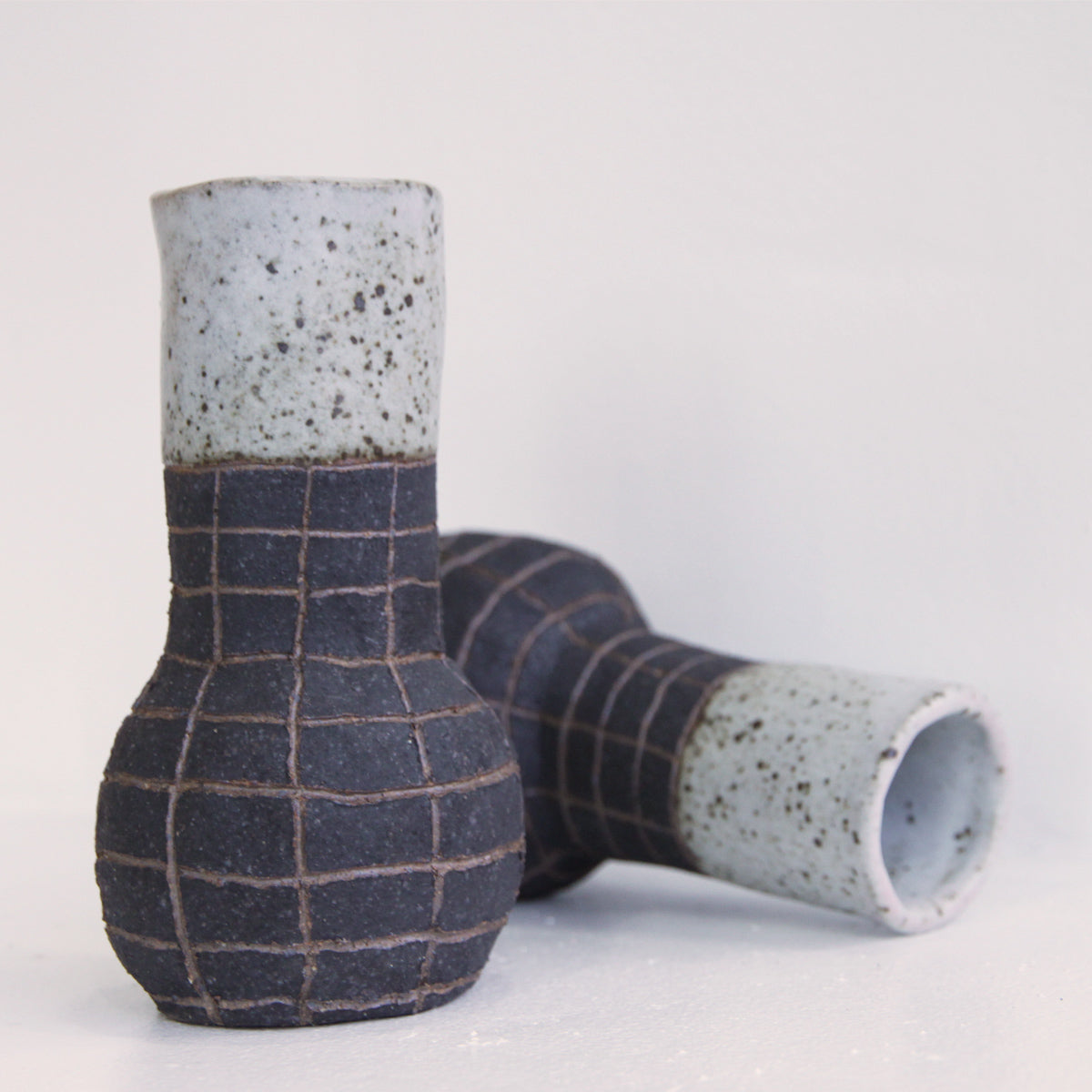Tokkuri Grid Stem Vase | Chie Fujii - CHIECO Ceramics | Chie Fujii - CHIECO Ceramics | Los Angeles, CA at Sustain - Gallery and Shop - Chicago, IL