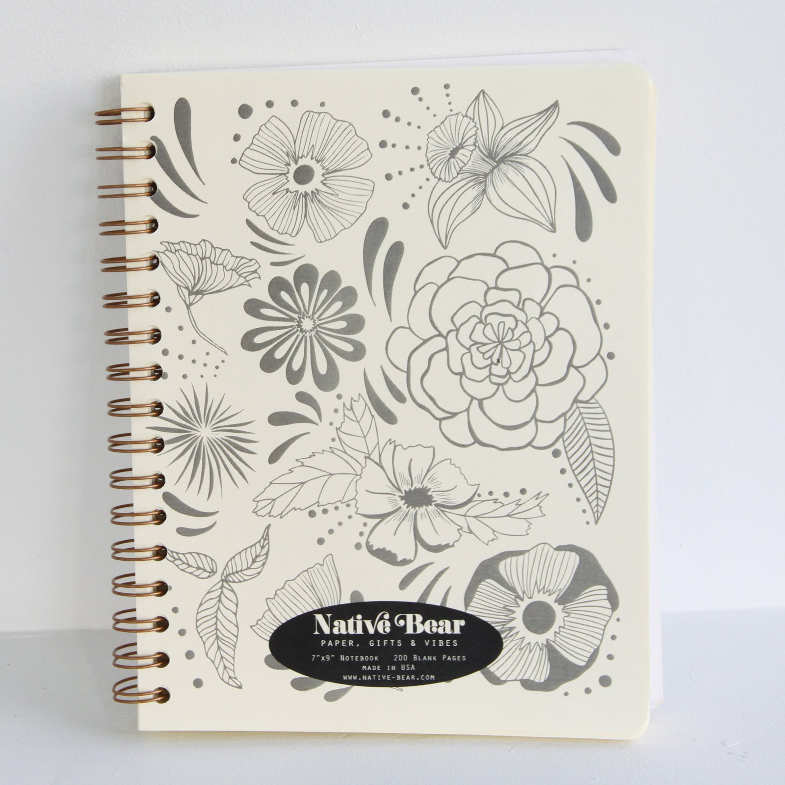 Flower Power Spiral Journal | Native Bear -Leela Hoehn | Augusta, GA at Sustain - Gallery and Shop - Chicago, IL