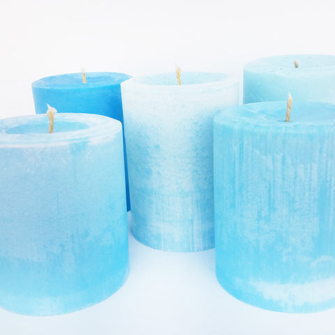 Shades of Blue Pillar Candle | Frontier Supply Shop | Chicago, IL at Sustain - Gallery and Shop - Chicago, IL