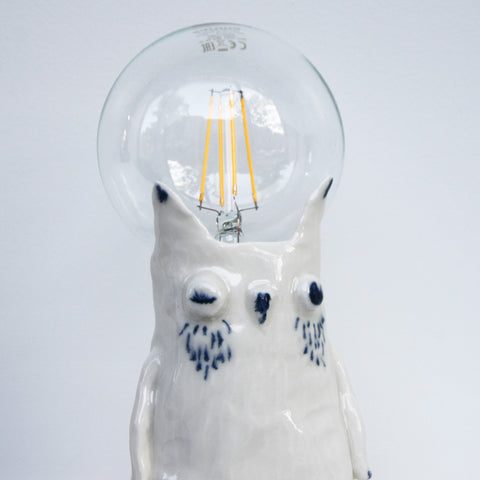 Ceramic Porcelain Owl Lamp - Matilde Digmann sold by Sustain Gallery