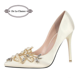 Pearl Rhinestone High Heels Women's Wedding Shoes