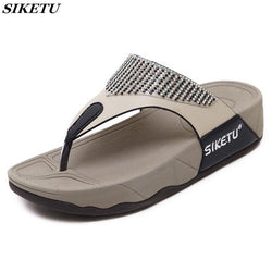 SIKETU Women's Flat Bottom Wedge Beach Shoes (Non-Slip Comfortable Diamond Trim Flip Flop)