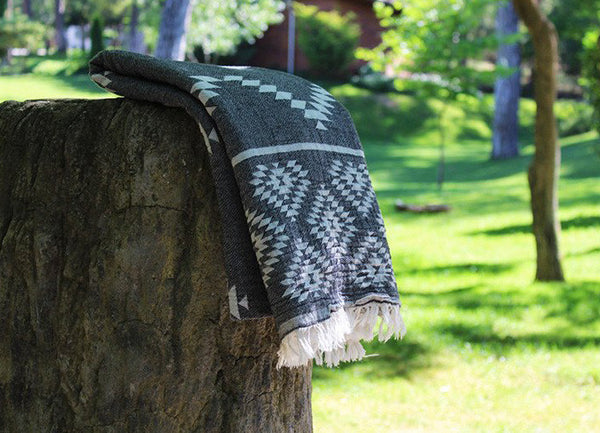 Aztec Kilim Turkish Towel Black - Nomad The Store - Nomad The Store