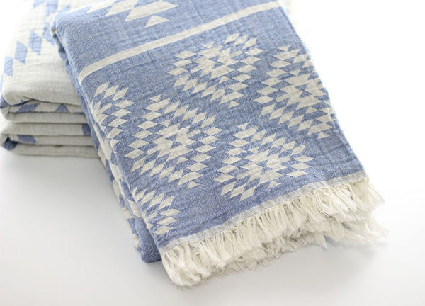 Aztec Kilim Turkish Towel Denim Blue - Nomad The Store - Nomad The Store