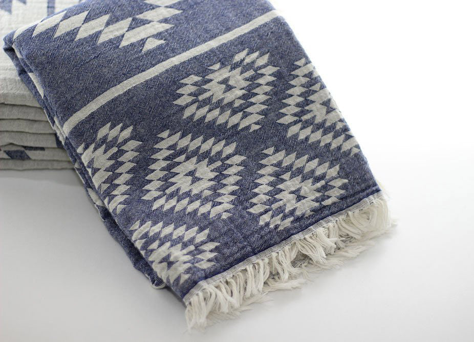 Aztec Kilim Turkish Towel Midnight Blue - Nomad The Store - Nomad The Store