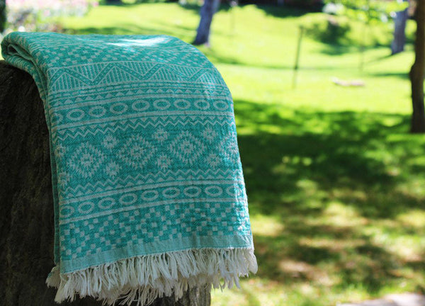 Aztec Turkish Towel Seafoam Green - Nomad The Store - Nomad The Store
