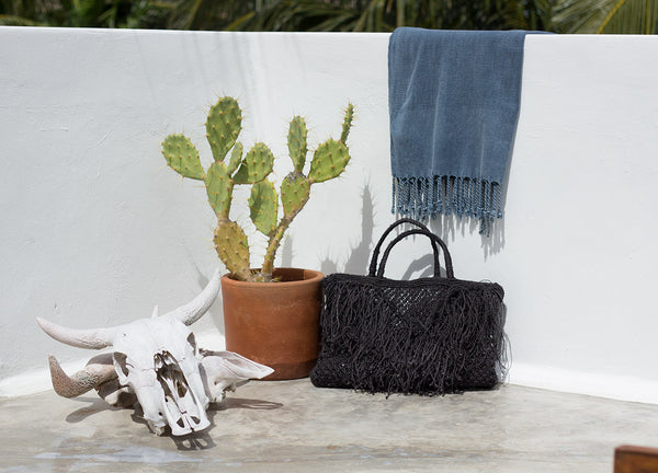 Black Tassel Jute Bag