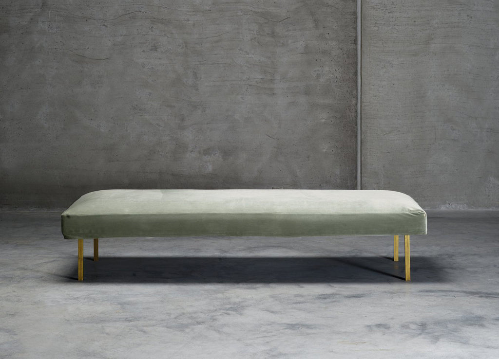 Daybed, 75x190xH42, velvet, brass legs, moss - Tine K - Nomad The Store