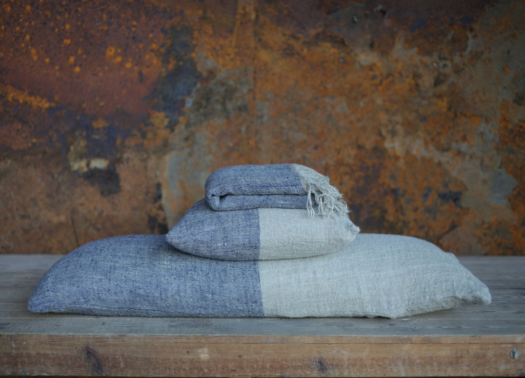 Mobali Linen Cushion Cover Blue - Nkuku - Nomad The Store