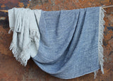 Mobali Linen Throw Blue - Nkuku - Nomad The Store
