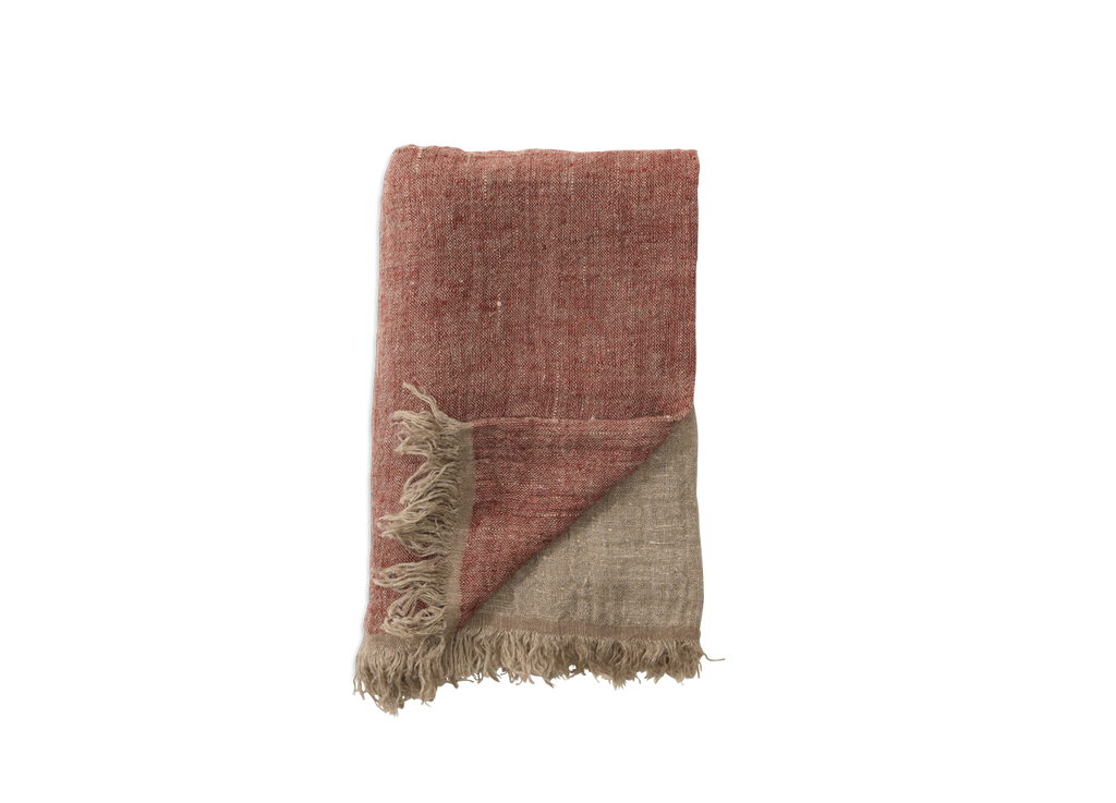 Mobali Linen Throw Red - Nkuku - Nomad The Store