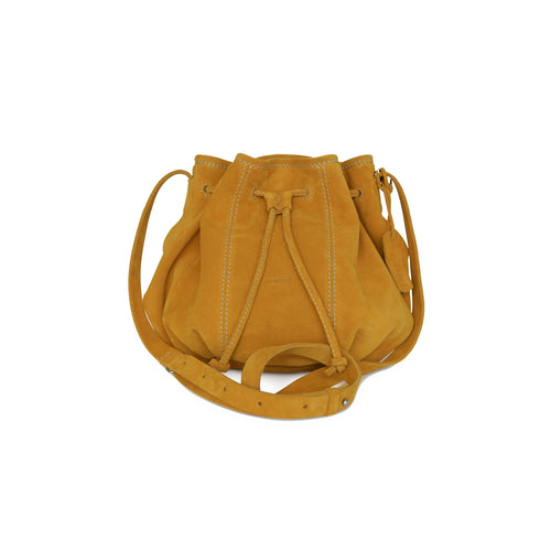 Pamina Bag made from yellow suede leather. Created by Nataly Brunner for Philini.