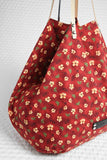 Yellow flowers on red cotton Shopper