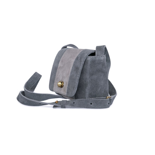 Small Bag Marina handmade from gray suede leather. Lightweight and very spacious for a small bag. Philini new collection.