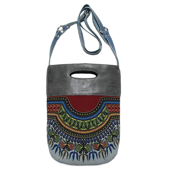 """INA"" Gray African Cotton Crossbody Bag"