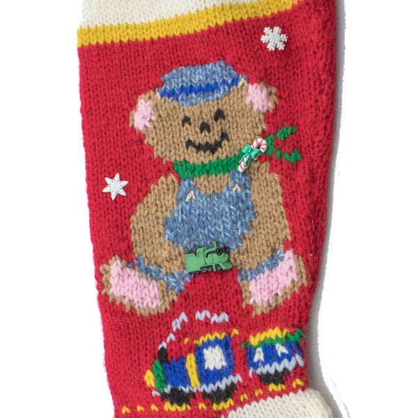 Choo-Choo Charlie Hand Knit Christmas Stocking Finished & Personalized - #7045