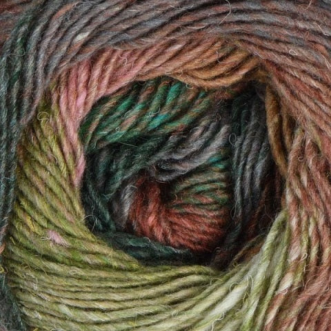 2083 - Peach, Forest, Brown, Spring Green Noro Silk Garden Lite Yarn