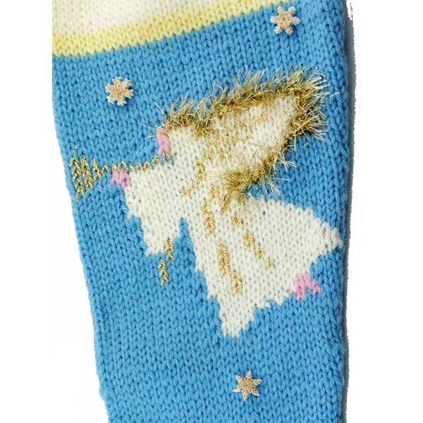 Angel Hand Knit Christmas Stocking Finished- #7017 Blue
