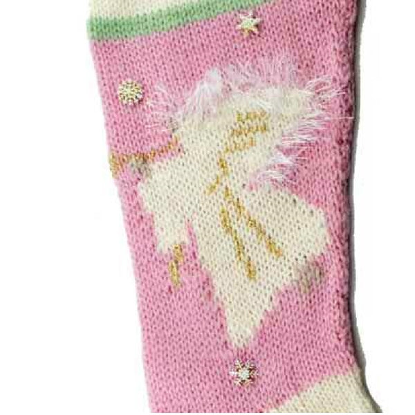 Angel Christmas Stocking Knitting Kit - Pink