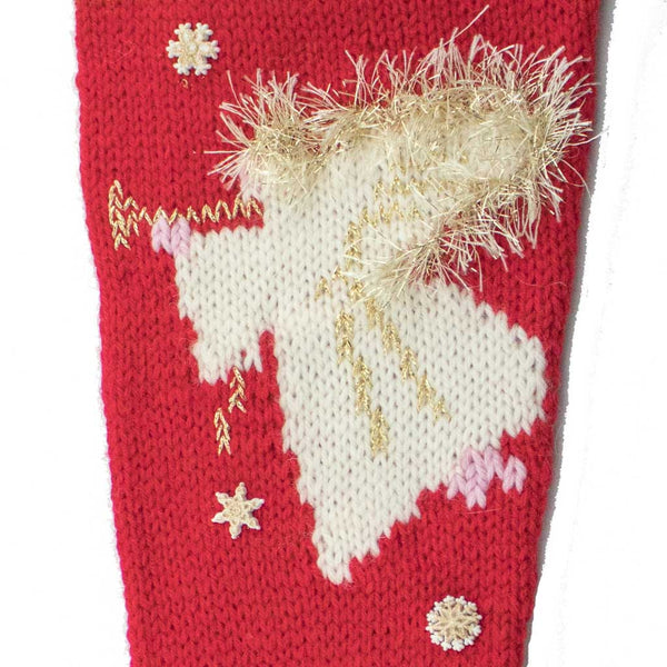 Angel Christmas Stocking Knitting Kit - Red