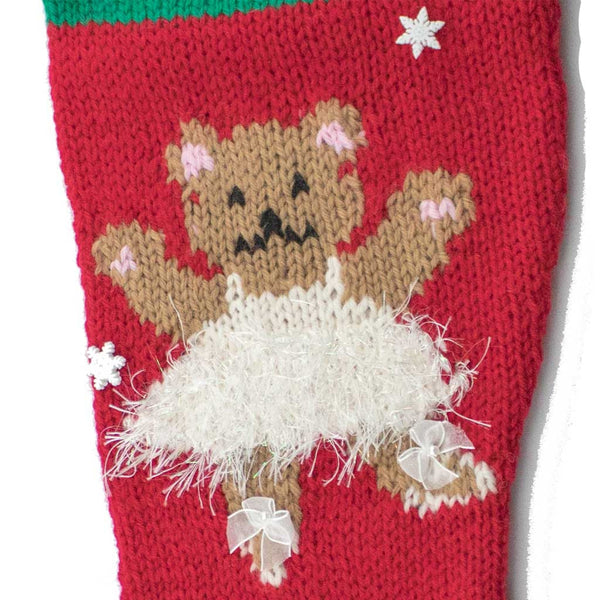 Ballerina Bear Finished Red Christmas Stocking - #7003