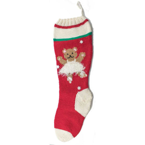 Ballerina Bear Christmas Stocking Kit Red