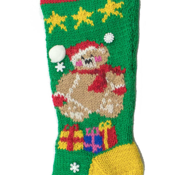 Christmas Bear Hand Knit Christmas Stocking Finished & Personalized - #7048