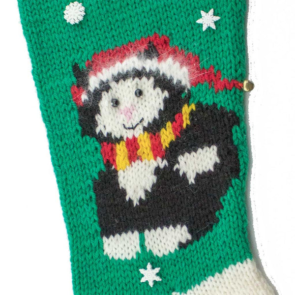 Christmas Kitty Hand Knit Christmas Stocking Finished & Personalized