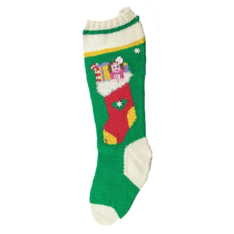 Dolly In A Sock Hand Knit Christmas Stocking - Finished #7008K