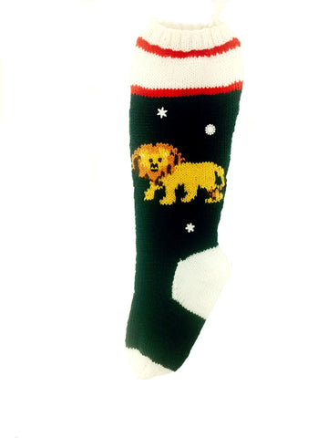 Lion Christmas Stocking Knitting Kit - Green