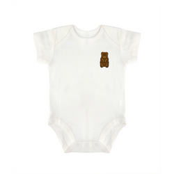 Herman Phillips Baby White Triangular Climbing Short-Sleeved Jumpsuit