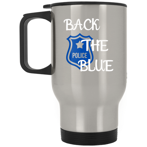 Back the Blue Badge - Silver Stainless Travel Mug