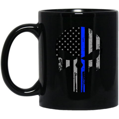 Blue Line Punisher -  11 oz. Black Mug