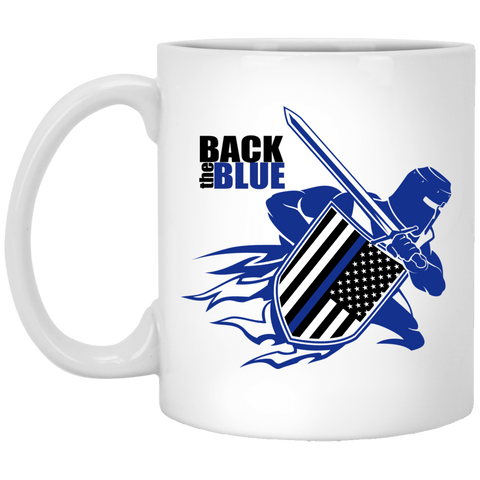 Back the Blue Warrior 11 oz. White Mug