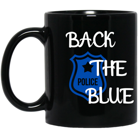 Back the Blue Badge -11 oz. Black Mug