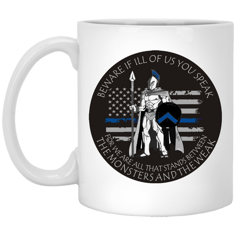 Blue Line Spartan - 11 oz. White Mug
