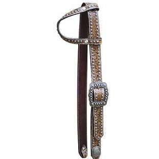 PFR12745 Showman ® One Ear Belt Style Leather Filigree Print Bridle