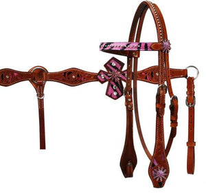 PFR12719 Headstall and Breast Collar Set with Hair on Cowhide Zebra Print with Leather Cross Accents