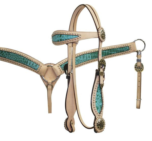 PFR12786 Double Stitched Leather Headstall and Breast Collar Set with Alligator Print