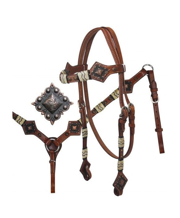 PFR12803 Showman ® Headstall and Breast Collar Set with Rawhide Braiding and Diamond Plate Conchos