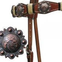 PFR12822 Showman ® Double Stitched Headstall with Rawhide Accents and Crossed Guns Conchos