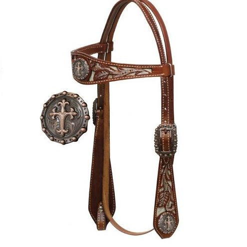 PFR12833 Showman ® Double Stitched Leather Painted Headstall with Celtic Cross Conchos