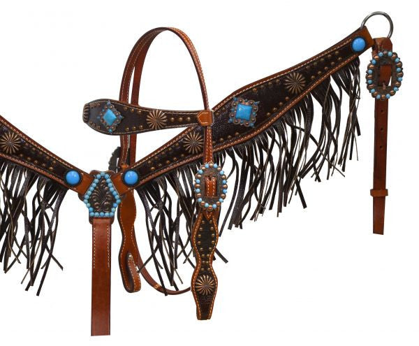PFR12917 Showman ® Leather headstall & breast collar with leather fringe and antique conchos